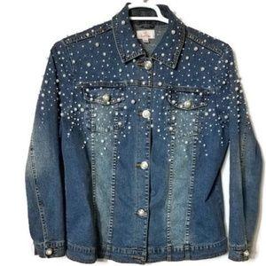 Quaker Factory Pearl  Embellished Denim Jacket